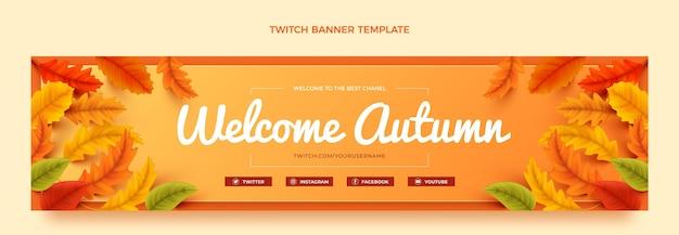 Sjabloon voor realistische herfsttwitch-banner