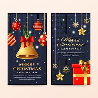 Sjabloon voor realistische kerst verticale banners