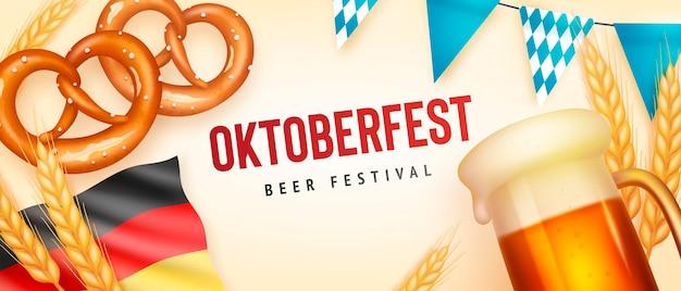 Sjabloon voor realistische oktoberfest-banner