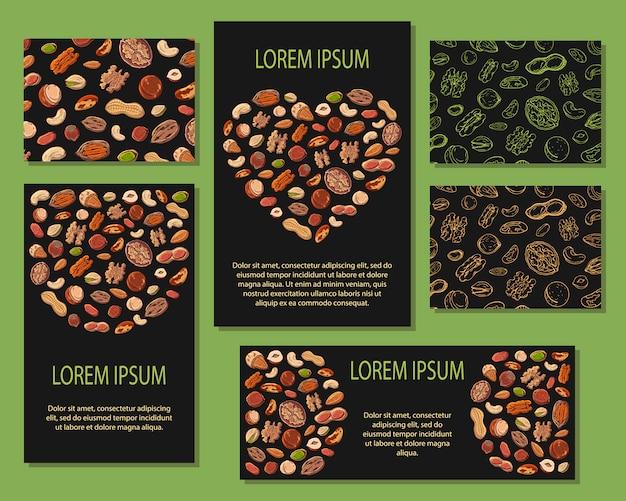 Sjabloon voor reclame voor producten met noten.