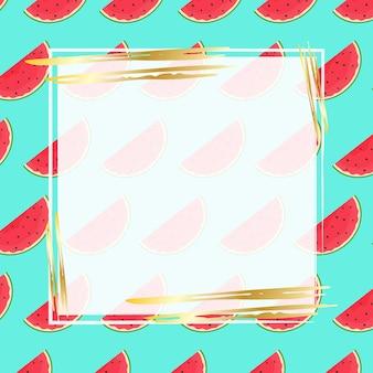 Sjabloon voor reclamebanner met watermeloenplakken op een blauwe achtergrond