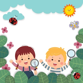 Sjabloon voor reclamefolder met cartoon van meisje en jongen met vergrootglazen in de natuur