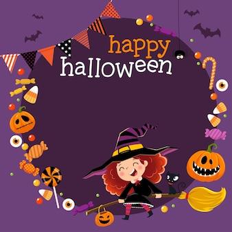 Sjabloon voor reclamefolder met gelukkig klein heksenmeisje en snoepjes in halloween-concept.
