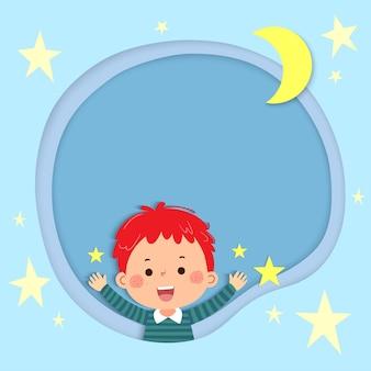 Sjabloon voor reclamefolder of kaart met gelukkig jongetje en sterren. plaats voor tekst.