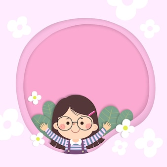 Sjabloon voor reclamefolder of kaart met gelukkig klein meisje en bloemen. plaats voor tekst.