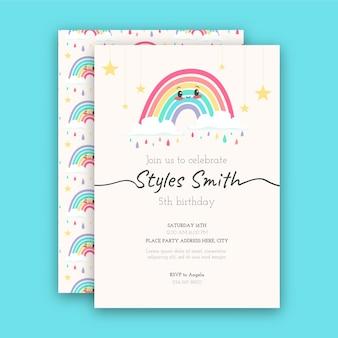 Sjabloon voor regenboog verjaardagsuitnodiging