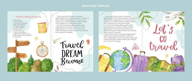 Sjabloon voor reisbrochure met aquarel