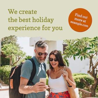 Sjabloon voor reisbureaus voor advertentie op sociale media