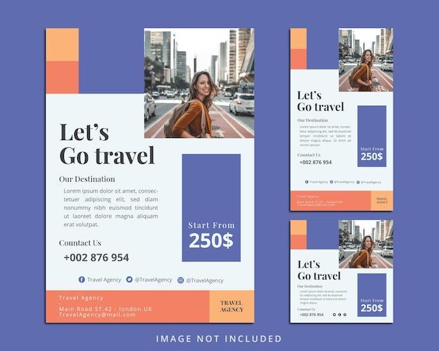 Sjabloon voor reisfolders en instagram