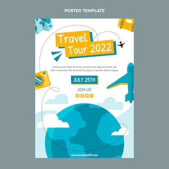 Sjabloon voor reisposter met plat ontwerp