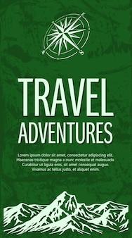 Sjabloon voor reizen banner met bergketen en windroos op groene grunge achtergrond. vector illustratie.