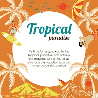 Sjabloon voor reizen met tropische zonneschijn voor marketingbureaus