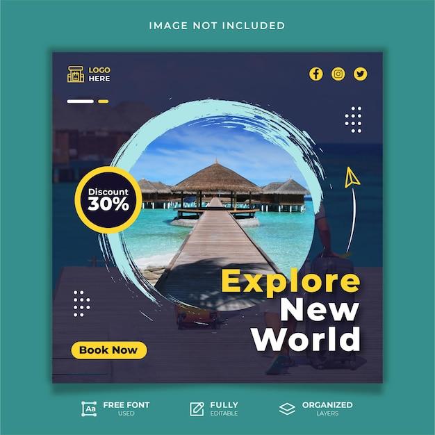 Sjabloon voor reizen op sociale media