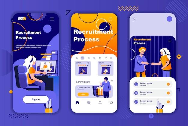 Sjabloon voor rekruteringsproces mobiele app-schermen voor verhalen op sociale netwerken