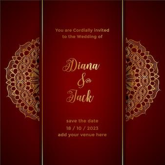 Sjabloon voor rode mandala-huwelijksuitnodiging