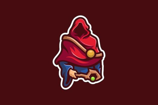 Sjabloon voor rode mantel tovenaar mascotte