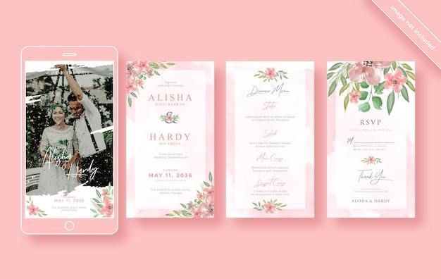 Sjabloon voor romantische aquarel bruiloft instagram verhalen