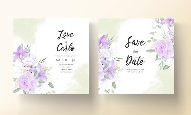 Sjabloon voor romantische paarse bloemen bruiloft uitnodigingskaart