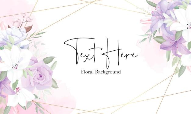 Sjabloon voor romantische paarse bloemenachtergrond