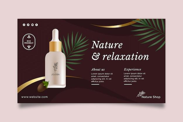 Sjabloon voor schoonheidsolie cosmetische horizontale spandoek