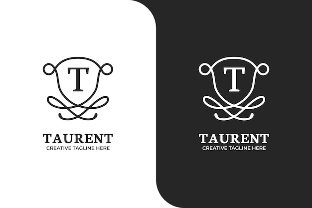 Sjabloon voor sierletter t-logo