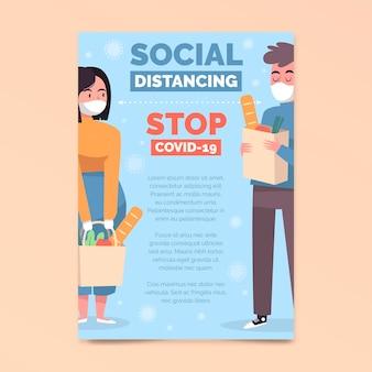 Sjabloon voor sociale afstand a5-flyer