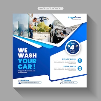 Sjabloon voor sociale media-berichten voor autowassen