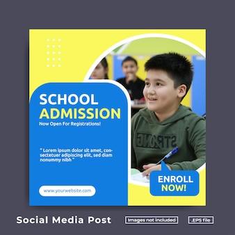 Sjabloon voor sociale media-post voor schooltoelating