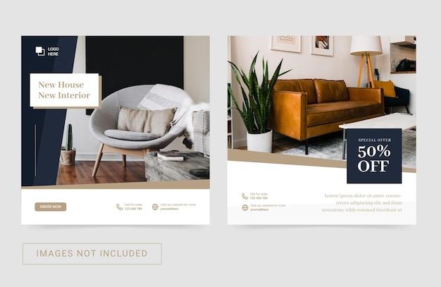 Sjabloon voor sociale media voor meubelen voor onroerend goed in huis