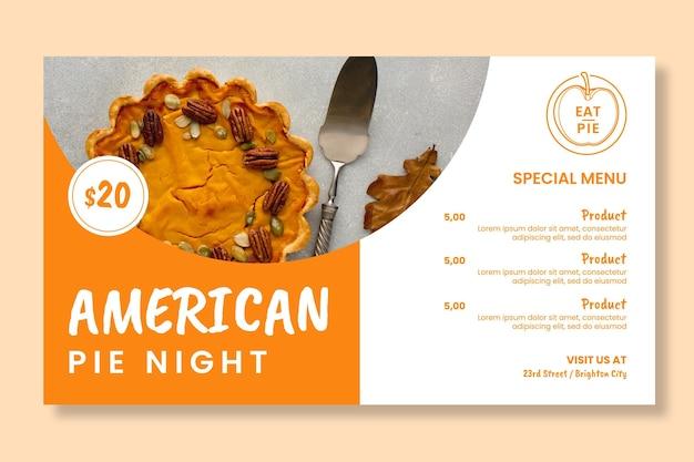 Sjabloon voor spandoek amerikaanse taart