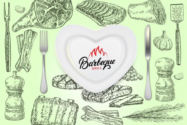Sjabloon voor spandoek barbecue