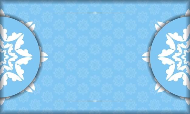 Sjabloon voor spandoek blauwe kleur met vintage wit patroon voor ontwerp onder uw tekst