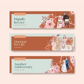 Sjabloon voor spandoek bruiloft viering in aquarel stijl