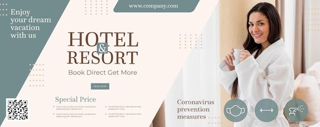 Sjabloon voor spandoek creatief hotel met foto
