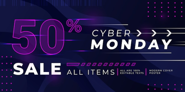 Sjabloon voor spandoek cyber maandag verkoop met gloeiende roze stippen