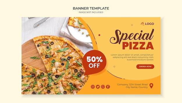 Sjabloon voor spandoek eten voor pizzarestaurant
