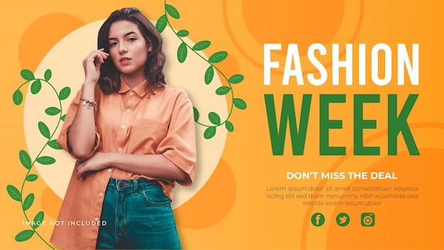 Sjabloon voor spandoek fashion week. promotie verkoop banner voor website.