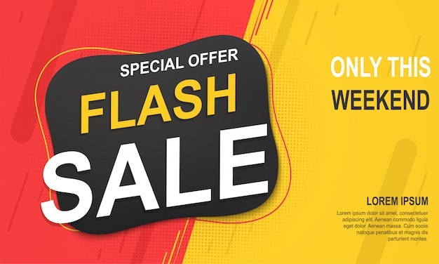 Sjabloon voor spandoek flash-verkoop, speciale aanbieding voor grote verkopen.