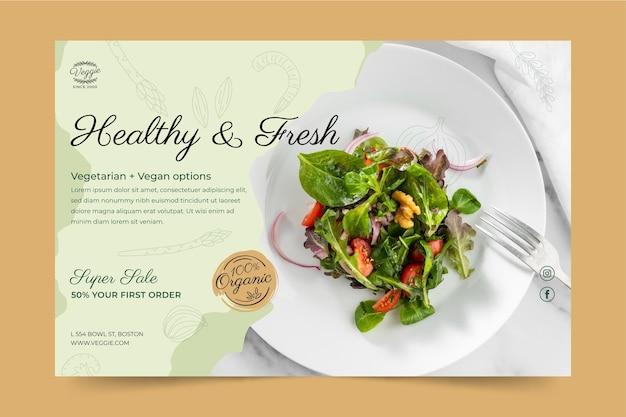 Sjabloon voor spandoek gezond restaurant