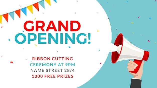 Sjabloon voor spandoek grootse opening. marketing bedrijfsconcept met megafoon. grand opening reclame.