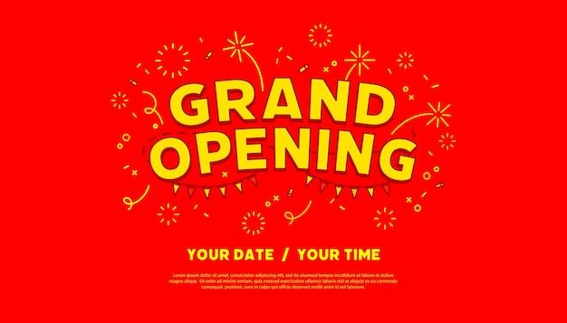 Sjabloon voor spandoek grootse openingsceremonie. reclameontwerp voor sociale netwerkvector.
