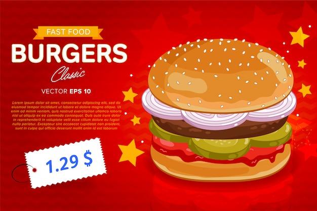 Sjabloon voor spandoek hamburger verkoop.