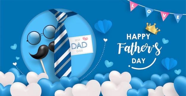 Sjabloon voor spandoek happy father's day. veel blauwe en witte hart ballonnen op blauwe achtergrond met stropdas, bril en snor elementen.