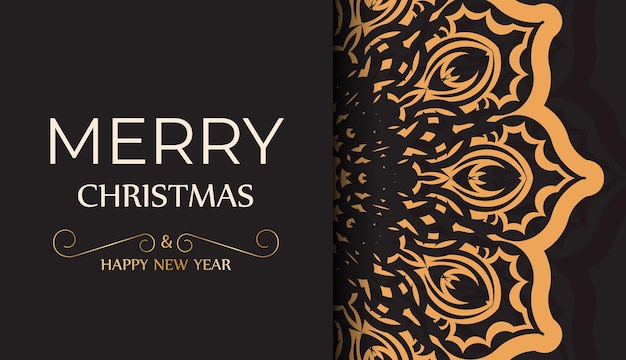 Sjabloon voor spandoek happy new year en merry christmas witte kleur met winter ornament.
