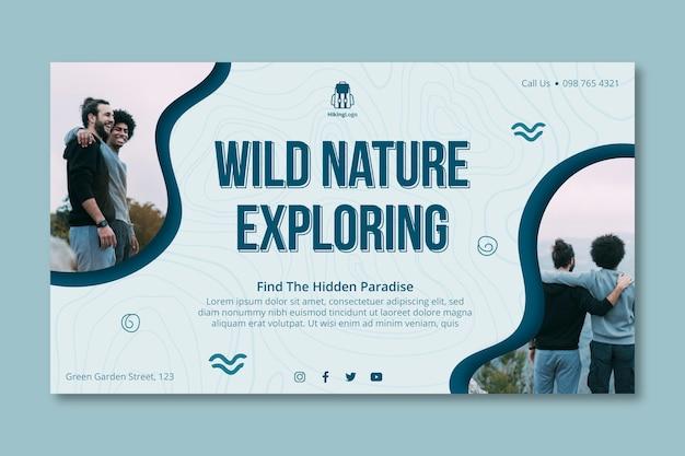 Sjabloon voor spandoek in de natuur verkennen exploring