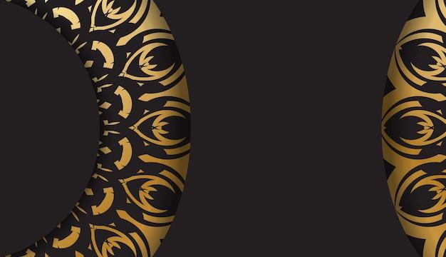 Sjabloon voor spandoek in zwarte kleur met gouden griekse ornament