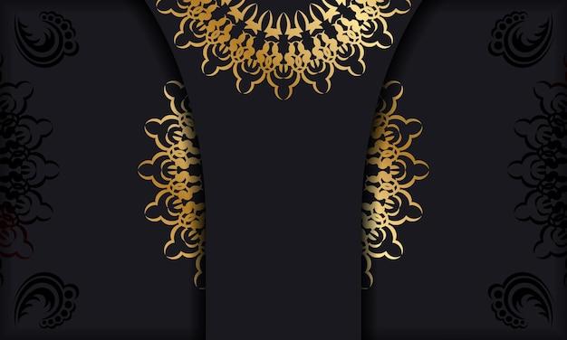 Sjabloon voor spandoek in zwarte kleur met gouden luxe ornament
