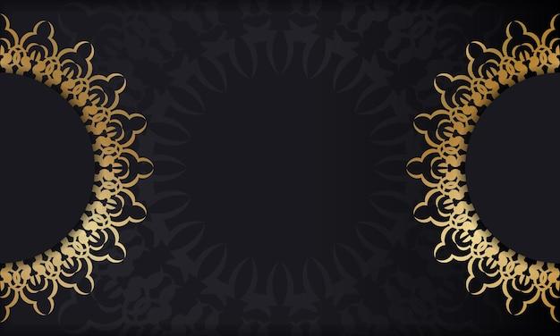 Sjabloon voor spandoek in zwarte kleur met gouden luxepatroon
