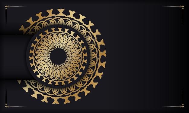 Sjabloon voor spandoek in zwarte kleur met gouden mandalapatroon