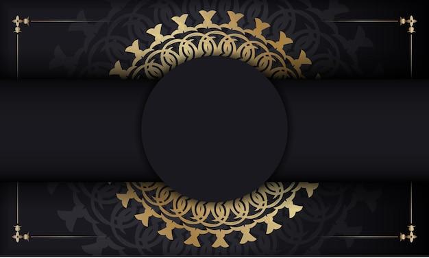 Sjabloon voor spandoek in zwarte kleur met gouden vintage ornament
